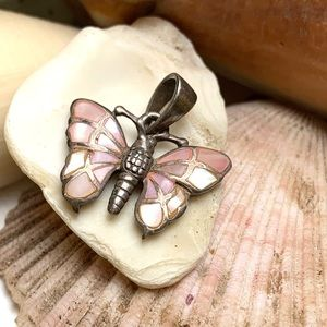Vintage Sterling Silver Pink MOP Butterfly Pendant